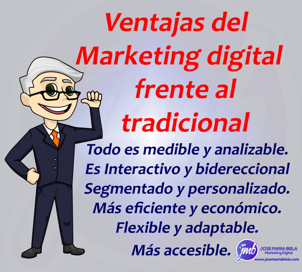 cuadro explicativo con las ventajas del marketing digital ante el tradicional